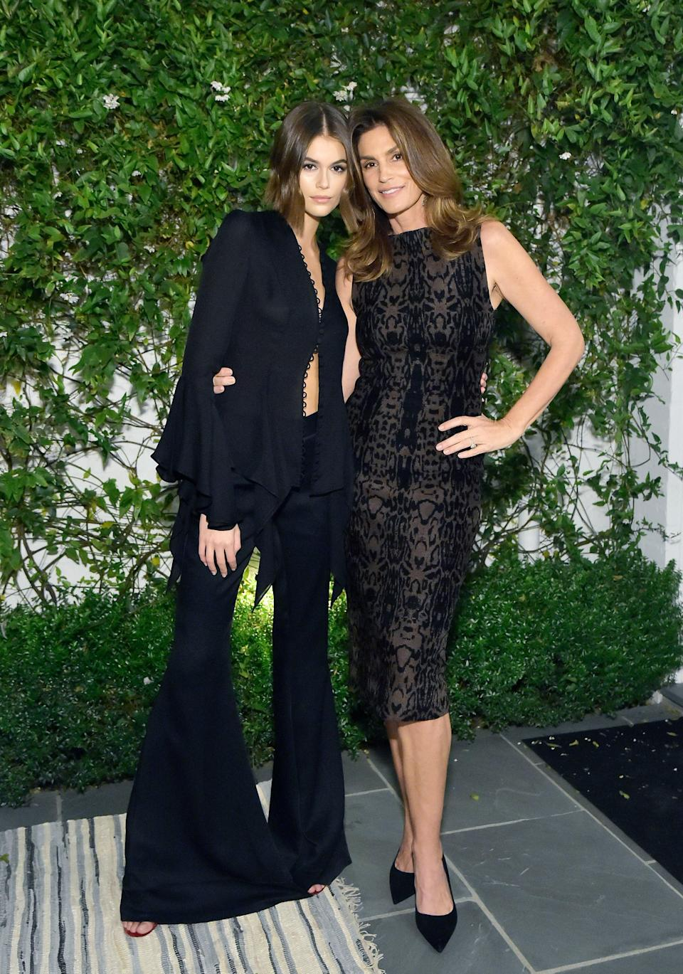 Without the jacket, the look gets instantly elevated. Here she is pictured with fellow supermodel and mom Cindy Crawford.
