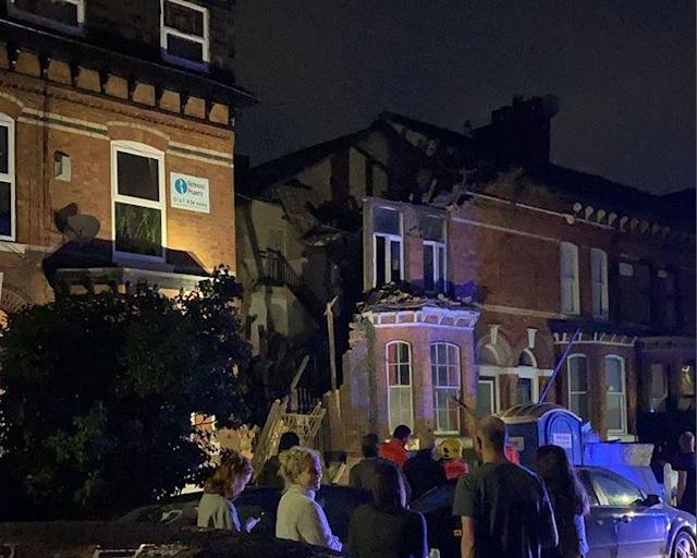 A property partially collapsed on Stockton Road in Chorlton, south Manchester. (Reach)