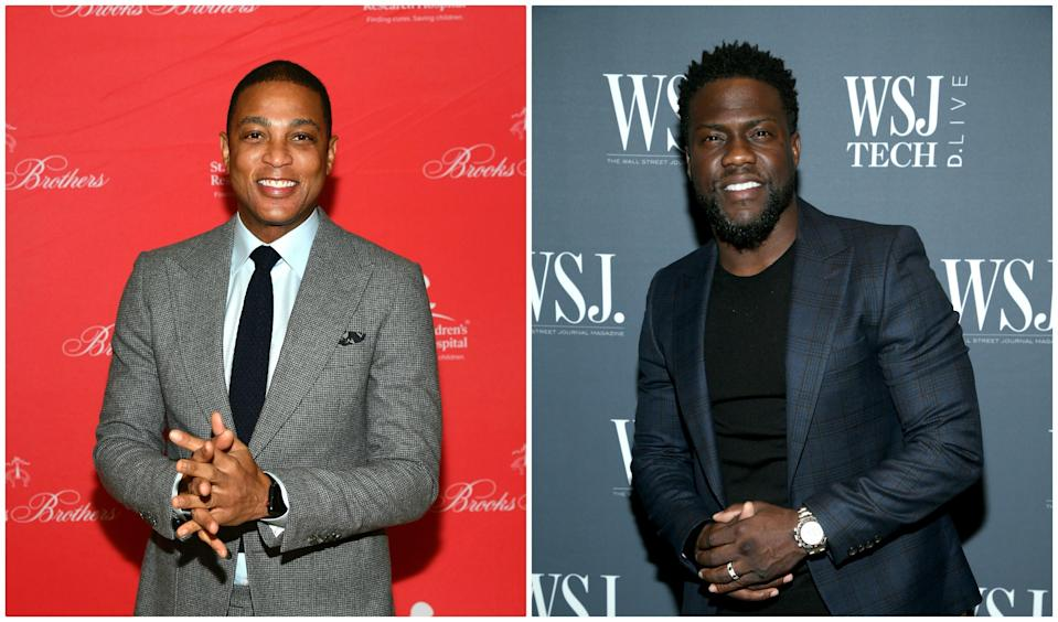 """CNN anchor Don Lemon criticized Kevin Hart for appearing on <em>Ellen</em> this week, saying that """"low-key co-signs homophobia"""" (Photos: L to R, Mike Coppola/Getty Images for Brooks Brothers, Phillip Faraone/Getty Images)"""