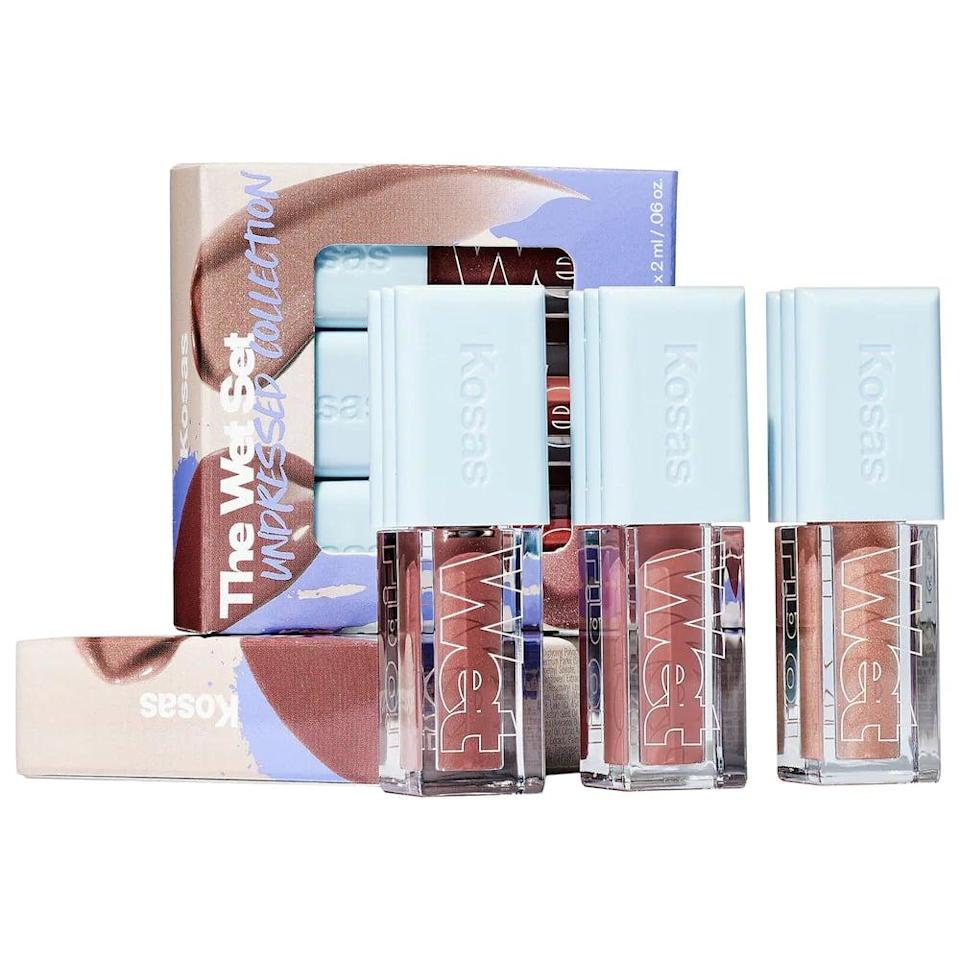 <p>If they love sporting a neutral or nude lip, they'll love this <span>Kosas Mini Wet Lip Oil Plumping Treatment Gloss Set in Undressed Collection</span> ($25). It'll give them that hydrated, high-shine wet look, perfect for glamorous and everyday makeup.</p>