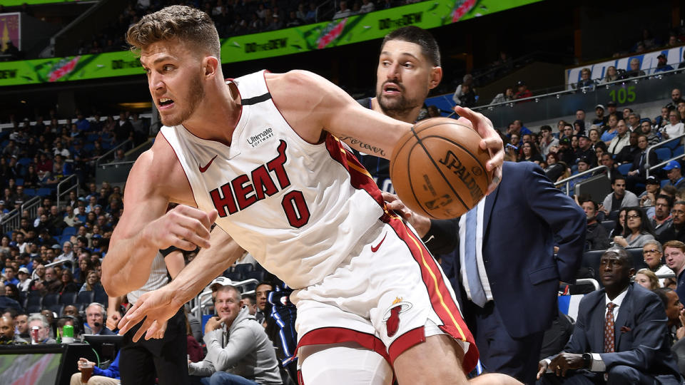 Miami's Meyers Leonard will spend an indefinite amount of time away from the NBA franchise after using an anti-semitic slur while streaming a gaming session on Twitch. (Photo by Fernando Medina/NBAE via Getty Images)