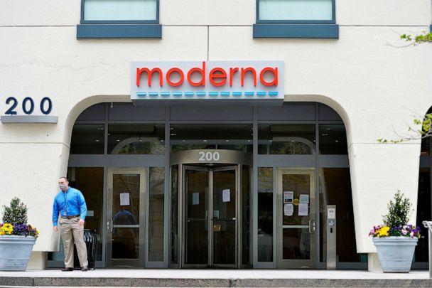 PHOTO: A man stands outside Moderna headquarters in Cambridge, Mass., on May 18, 2020. (Joseph Prezioso/AFP via Getty Images)