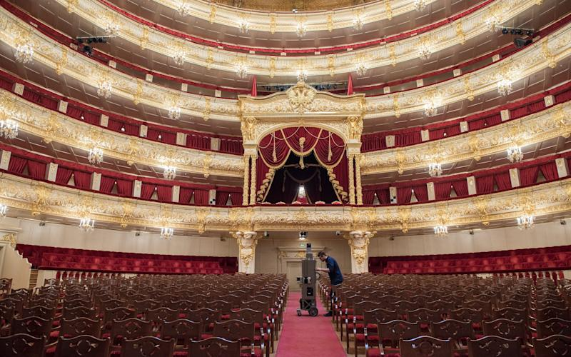 Google camera operative at work inside Moscow's Bolshoi Theatre.