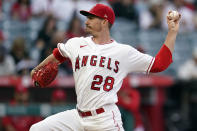 Los Angeles Angels starting pitcher Andrew Heaney throws to the San Francisco Giants during the first inning of a baseball game Tuesday, June 22, 2021, in Anaheim, Calif. (AP Photo/Marcio Jose Sanchez)
