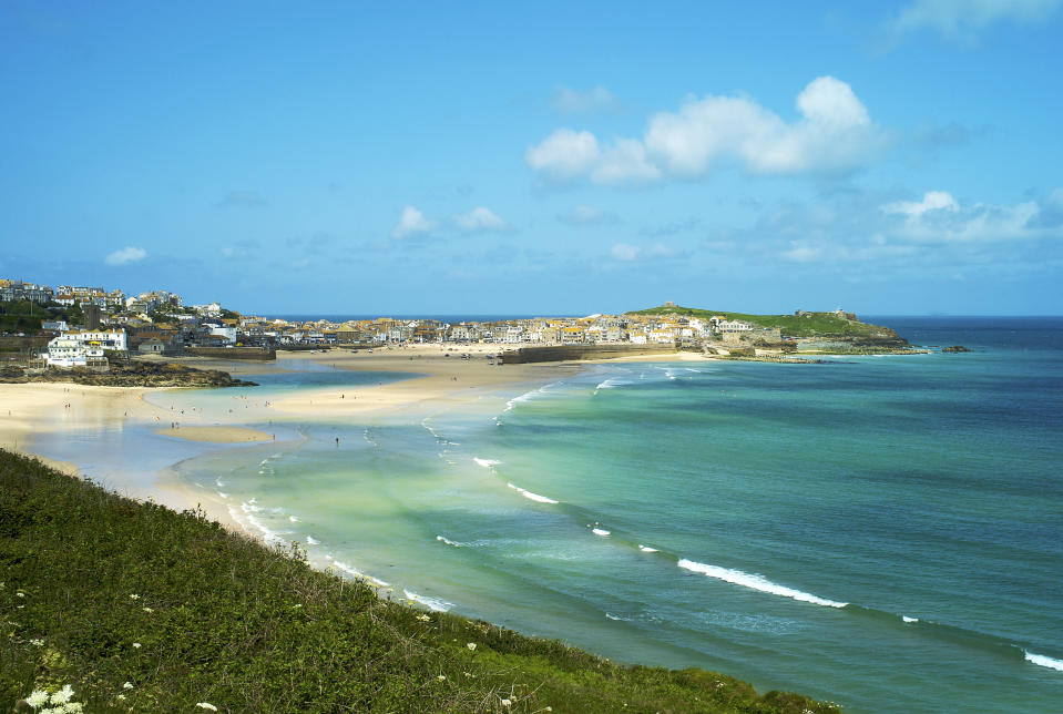 St ives and Carbis bay in summer with clear blue sea water and sand beach, St ives, cornwall, England, U.K.