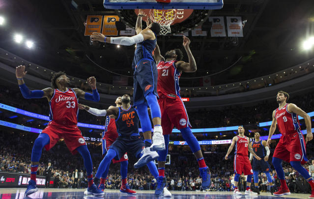 Andre Roberson over Joel Embiid for the win sounds like a Thunder fan fever dream, but it became reality on Friday night. (AP Photo/Chris Szagola)