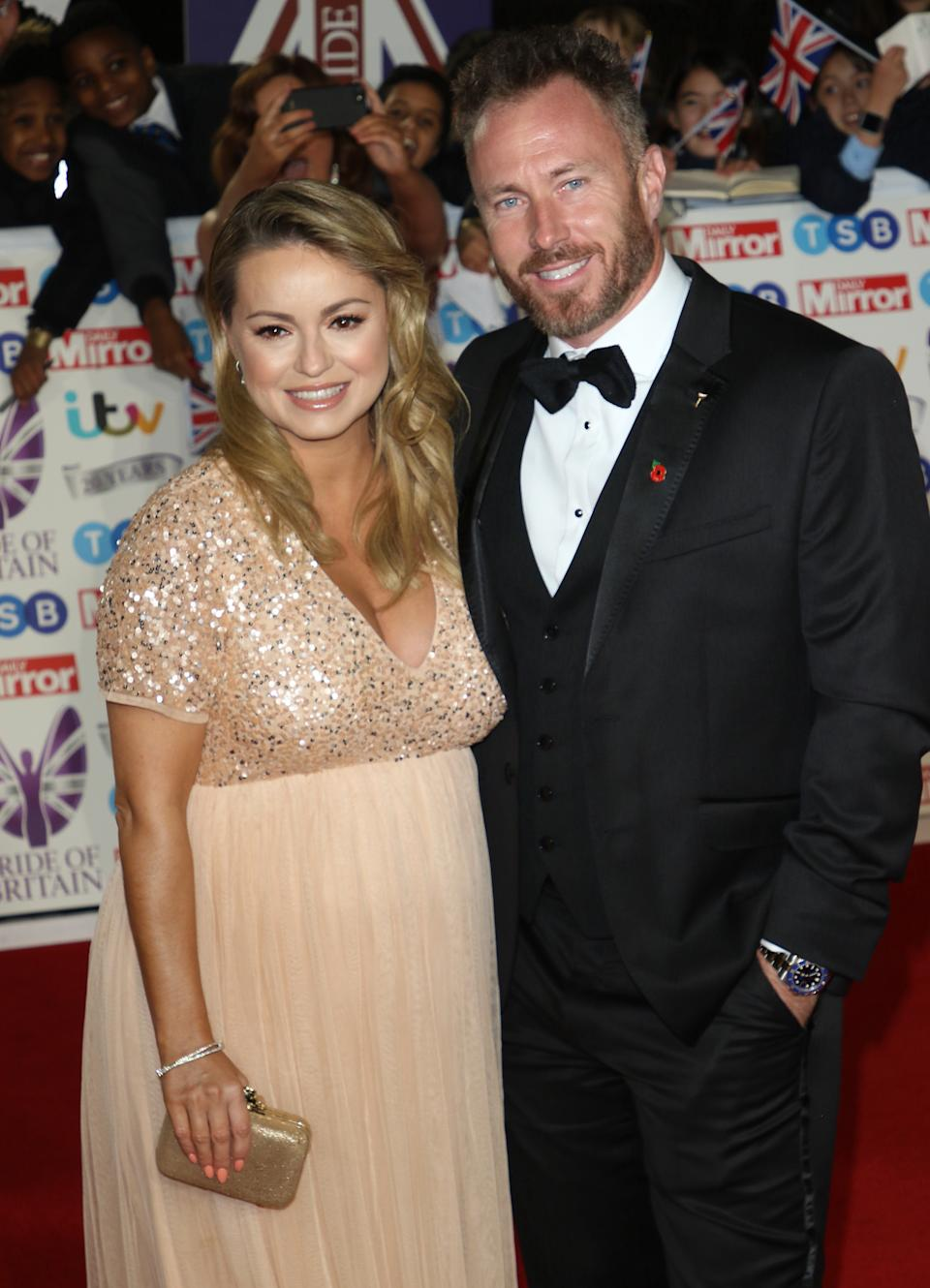 LONDON, -, UNITED KINGDOM - 2019/10/28: Ola Jordan and James Jordan on the red carpet at The Daily Mirror Pride of Britain Awards, in partnership with TSB, at the Grosvenor House Hotel, Park Lane. (Photo by Keith Mayhew/SOPA Images/LightRocket via Getty Images)