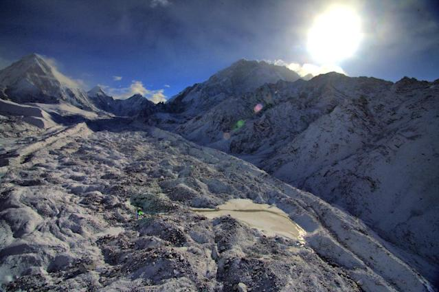 Among the glaciers studied in World Heritage sites is the Khumbu Glacier in the Himalayas (AFP Photo/SUBEL BHANDARI)