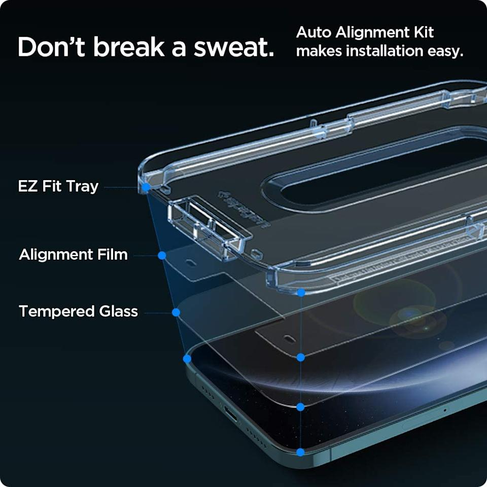 Each Spigen Tempered Glass Screen Protector comes with an auto-alignment kit for perfect application every time. Image via Amazon.