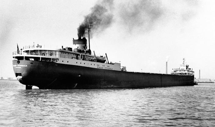 A 1959 file photo shows the Great Lakes freighter Edmund Fitzgerald, which disappeared Nov. 10, 1975, in a storm on Lake Superior.