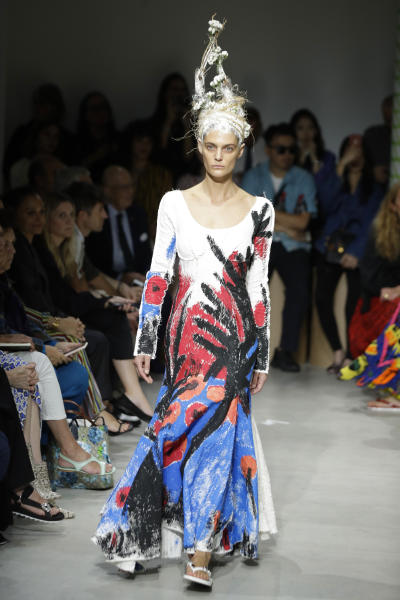 A model wears a creation as part of the Marni Spring-Summer 2020 collection, unveiled during the fashion week, in Milan, Italy, Friday, Sept. 20, 2019. (AP Photo/Luca Bruno)