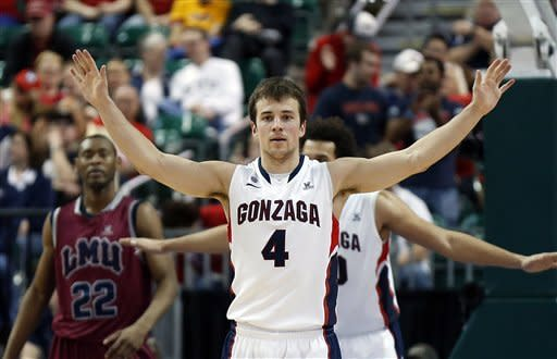 Gonzaga's Kevin Pangos (4), of Canada, defends against Loyola Marymount during the second half of a West Coast Conference tournament NCAA college basketball game on Saturday, March 9, 2013, in Las Vegas. Gonzaga switched to a zone defense during the second half and defeated Loyola Marymount 66-48. (AP Photo/Isaac Brekken)
