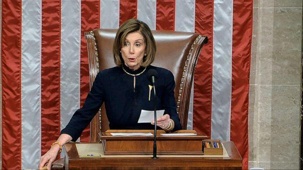 PHOTO: House Speaker Nancy Pelosi of Calif., announces the passage of the first article of impeachment, abuse of power, against President Donald Trump by the House of Representatives at the Capitol in Washington, Dec. 18, 2019. (House Television via AP)