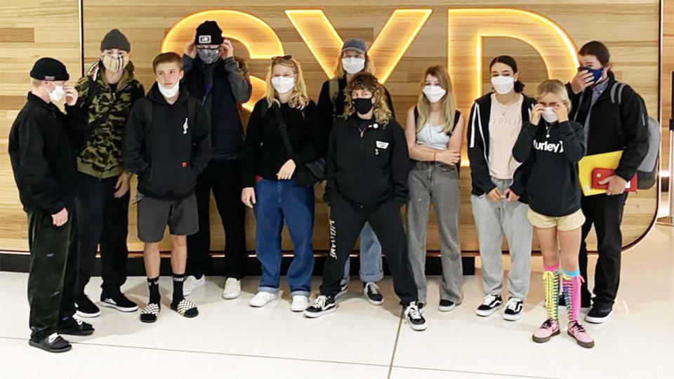 The Aussie skateboarding team, pictured here before flying to the United States.