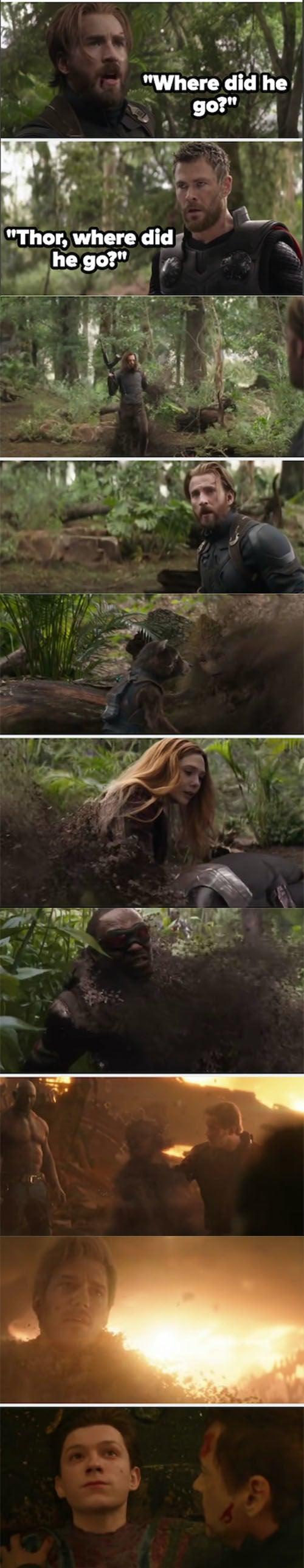 """""""Spider-Man, Groot, Wanda, Sam, and Bucky disappearing after Thanos' snap on """"Avengers: Infinity War"""""""