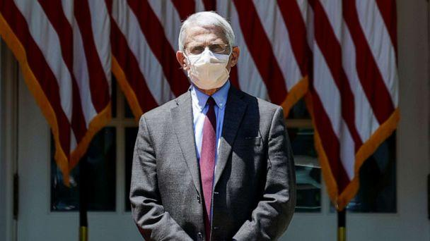 PHOTO: In this May 15, 2020, file photo, National Institute of Allergy and Infectious Diseases Director Dr. Anthony Fauci listens as President Donald Trump speaks in the Rose Garden at the White House in Washington. (Kevin Lamarque/Reuters, FILE)