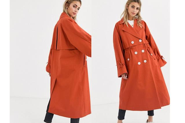 ASOS DESIGN luxe contrast button trench coat in rust