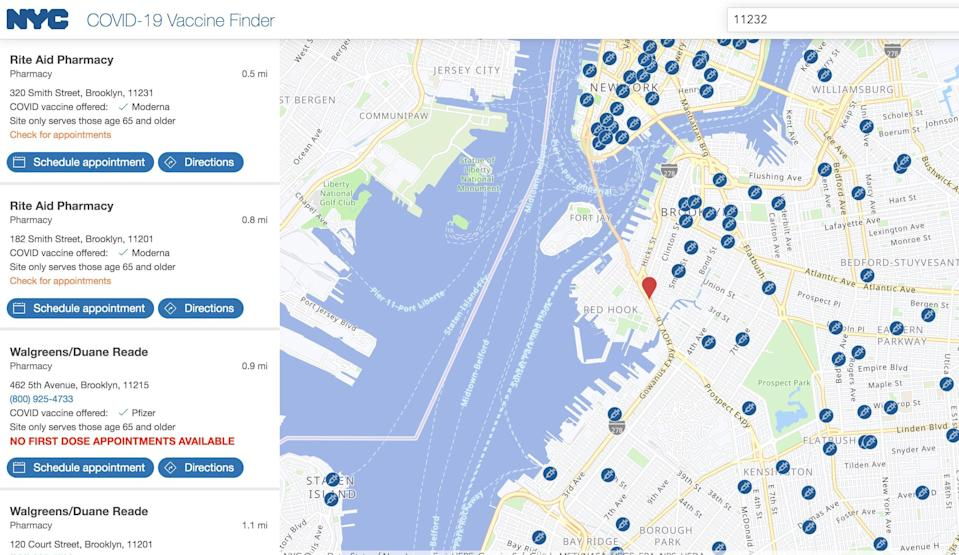NYC covid-19 vaccine finder