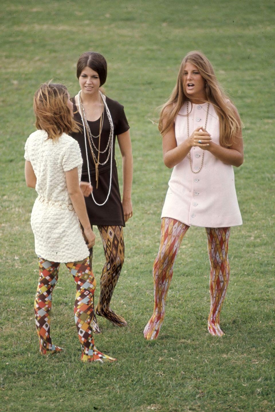 <p>Whoever thought that multi-colored, multi-patterned tights would flatter ANY HUMAN'S legs was seriously mistaken. </p>