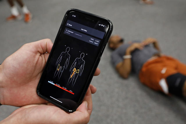 Detail of the Athos Training System app during the Texas Longhorns morning workout Wednesday Sept. 4, 2019 in Austin, Tx. ( Photo by Edward A. Ornelas )