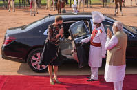 Indian Prime Minister Narendra Modi, right, greets his Danish counterpart Mette Frederiksen upon her arrival at the Indian presidential palace in New Delhi, India, Saturday, Oct. 9, 2021. (AP Photo/Manish Swarup)