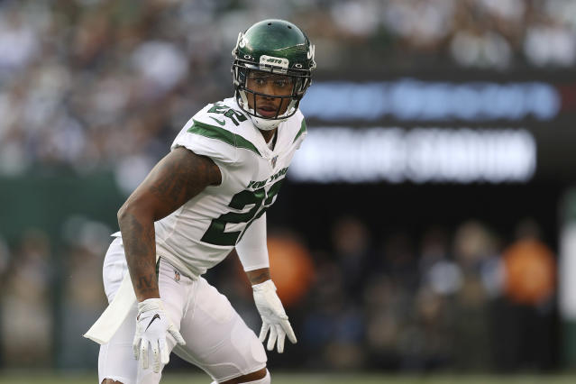 FILE - In this Sunday, Oct. 13, 2019 file photo, New York Jets cornerback Trumaine Johnson (22) in coverage during the first half of an NFL football game against the Dallas Cowboys in East Rutherford, N.J. Trumaine Johnson's stint with the New York Jets is over after two disappointing and injury-plagued seasons, Wednesday, March 18, 2020. Johnson was the teams biggest free agent signing in 2018, when it gave him a five-year, $72.5 million contract that included $34 million in guaranteed money.(AP Photo/Steve Luciano, File)
