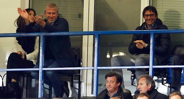 Abramovich and Conte are still on good terms … for now. (Reuters)