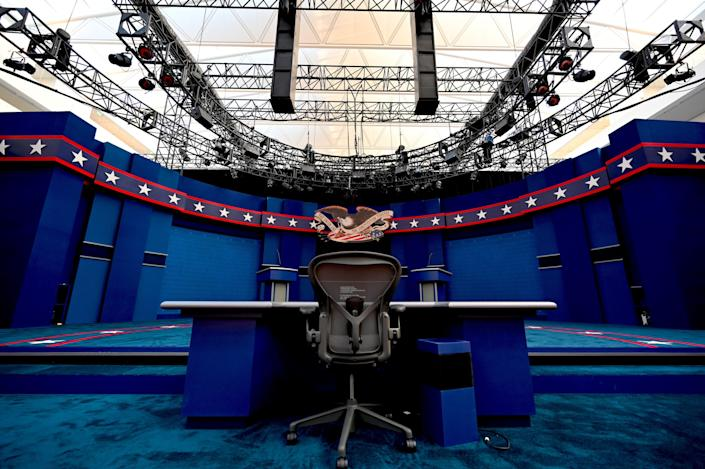 The seat of Fox News moderator Chris Wallace on the set of the first presidential debate in Cleveland. (Eric Baradat/AFP via Getty Images)