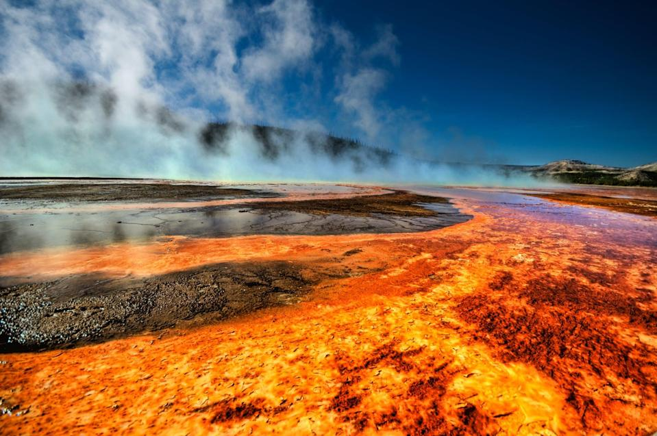 <p>Located in Yellowstone National Park, Grand Prismatic Spring is the largest hot spring in the United States and is known for its vivid gradient of colors. </p>