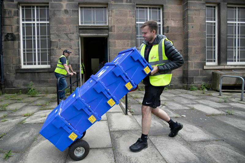 Ballot boxes are dispatched to polling stations around Scotland from the Old Royal High School, Edinburgh, Wednesday, May 22, 2019 ahead of the European Parliamentary election. Some 400 million Europeans from 28 countries head to the polls from Thursday to Sunday to choose their representatives at the European Parliament for the next five years.