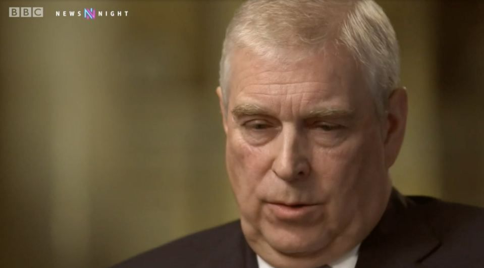 Prince Andrew during the Newsnight interview broadcast on 16 November, 2019. (BBC)