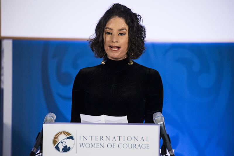 WASHINGTON, USA - MARCH 29: Natalia Ponce de Leon, a survivor of an acid attack and advocate for victims rights from Colombia, speaks after receiving a fellowship award from First Lady Melania Trump and the U.S. Department of State during the 2017 International Womens Awards in Washington, United States on March 29, 2017. (Photo by Samuel Corum/Anadolu Agency/Getty Images)