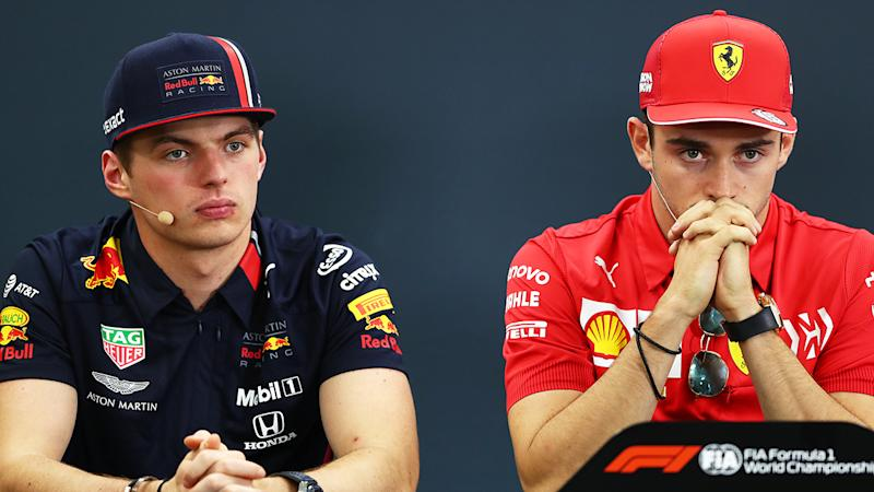 Max Verstappen, pictured left, angered Ferrari rival Charles Leclerc, right, with his 'cheating' comments after the USA Grand Prix.