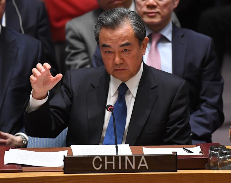 Foreign Minister of China Wang Yi speaks during a United Nations Security Council meeting on North Korea April 28, 2017 in New York