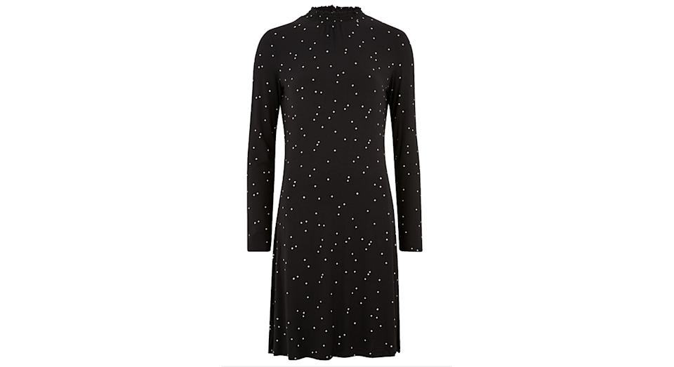 Jersey Polka Dot Knee Length Swing Dress