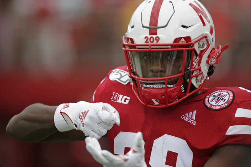 Nebraska running back Maurice Washington (28) pretends to pull a trigger as he warms up before an NCAA college football game against South Alabama in Lincoln, Neb., Saturday, Aug. 31, 2019. (AP Photo/Nati Harnik)