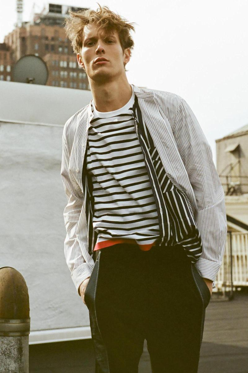 Lemaire shirt (worn on top), Lanvin shirt (worn underneath), Tomorrowland t-shirt and Lanvin trousers, all available from matchesfashion.com (Clement Pascal)