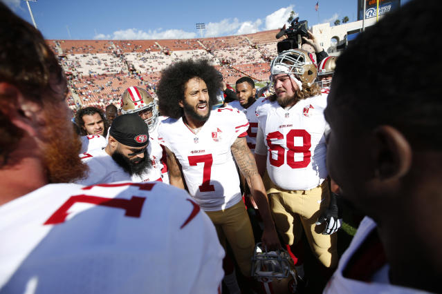 Colin Kaepernick said he was willing to take the heat for his protest during the playing of the national anthem at NFL games. (Getty)