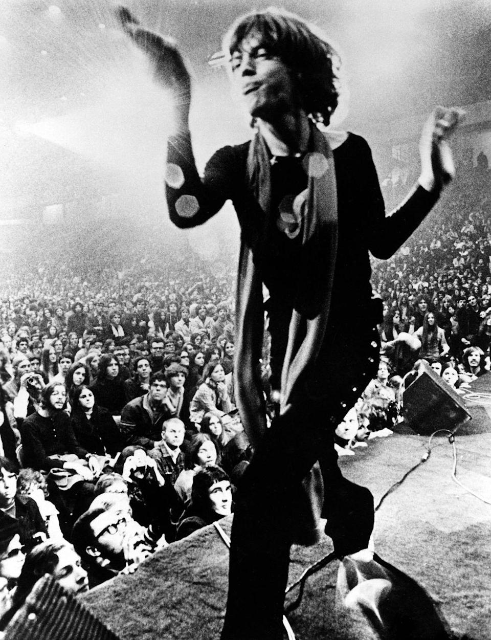 <p>Mick Jagger performing on stage in 1969.</p>