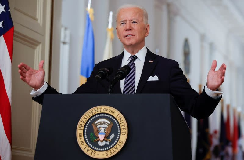 U.S. President Biden delivers an address to the nation about the coronavirus disease (COVID-19) pandemic from the White House in Washington