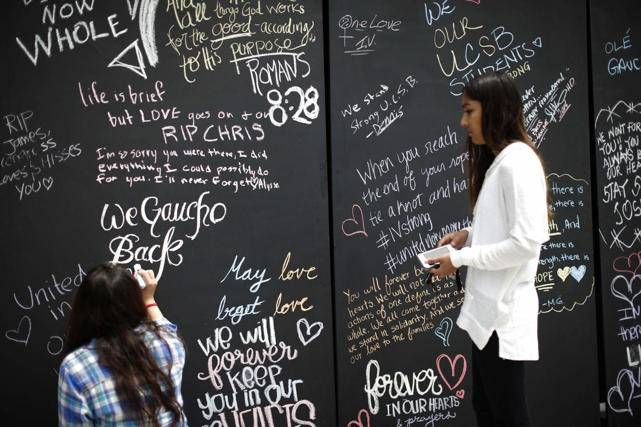 "Students sign on a remembrance wall in the Isla Vista neighborhood of Santa Barbara, California May 27, 2014.Students at the University of California at Santa Barbara returned to campus for a ""day of mourning"" on Tuesday, four days after the son of a Hollywood film director killed six students in a stabbing and shooting rampage across the seaside community. REUTERS/Lucy Nicholson (UNITED STATES - Tags: CRIME LAW EDUCATION)"