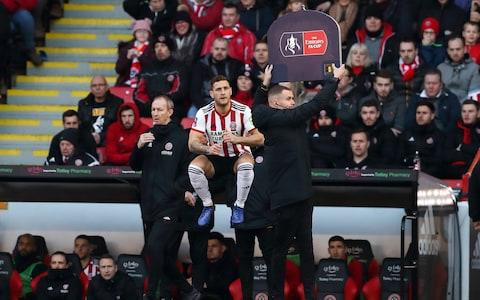 <span>Sheffield United prepare to make a substiture during FA Cup third-round defeat to Barnet</span> <span>Credit: Getty Images </span>