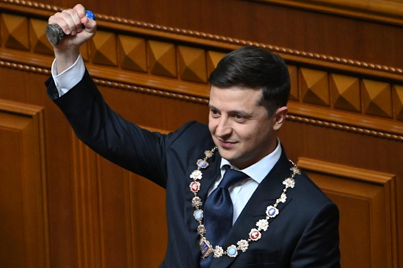 Zelensky used his inaugural speech to announce that he is dissolving parliament (AFP Photo/Genya SAVILOV)