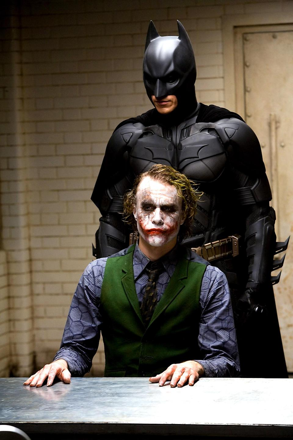 Heath Ledger and Christian Bale in The Dark Knight, 2008.
