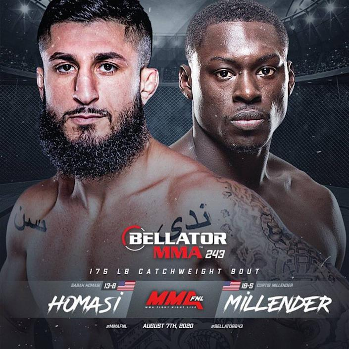 """Sabah """"The Sleek Sheik"""" Homasi (13-8) of American Top Team in Coconut Creek is on the main card, fighting Curtis """"Curtious"""" Millender (18-5) in a welterweight bout at Bellator 243 on Friday, Aug. 7 from Mohegan Sun Arena in Uncasville, Connecticut."""