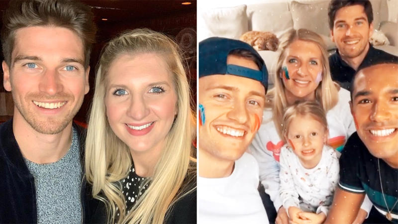Rebecca Adlington, pictured here at home with ex-husband Harry Needs and boyfriend Andrew Parsons.
