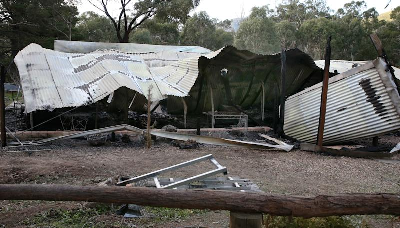 The scene of a fatal house fire in Tyaak, Victoria. Source: AAP