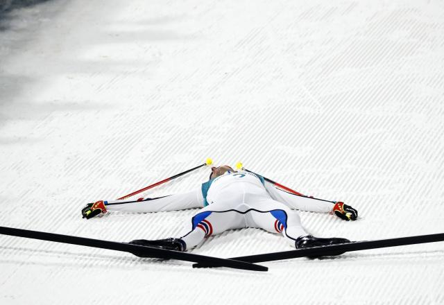 Nordic Combined Events – Pyeongchang 2018 Winter Olympics – Men's Individual 10km Final – Alpensia Cross-Country Skiing Centre - Pyeongchang, South Korea – February 14, 2018 - Jarl Magnus Riiber of Norway reacts after the finish. REUTERS/Kai Pfaffenbach
