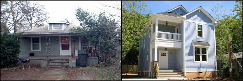 Photos of the home at 1511 E. Jones Street on December 6, 2011, left, and April 24, 2019.