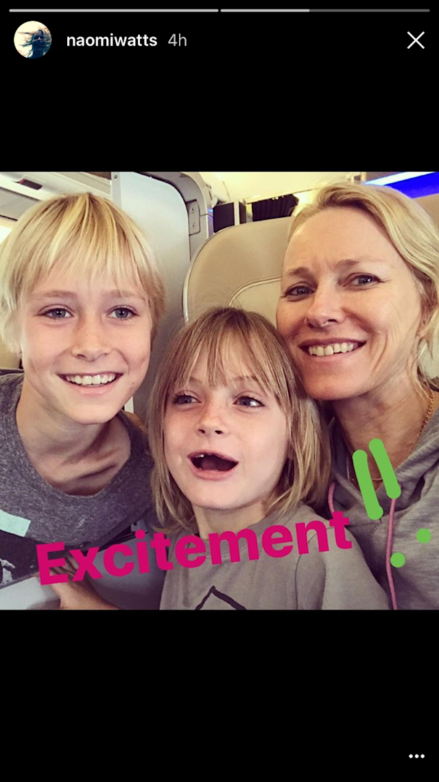 <p>Naomi Watts and sons, Alexander, 10, and Samuel, 8, were ready for takeoff, as the threesome headed off to an adventure of a lifetime — an African safari! (Photo: Naomi Watts via Snapchat) </p>